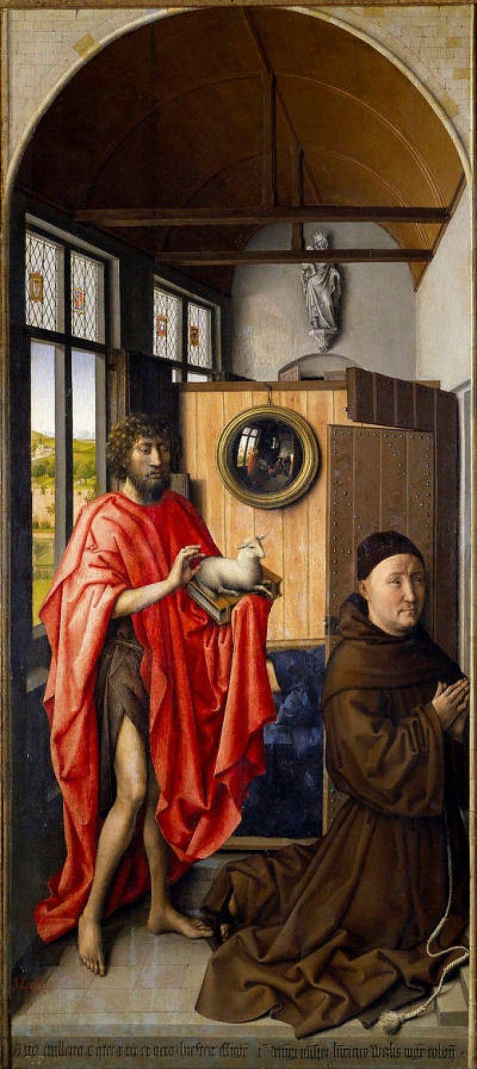 Robert Campin, Sint Johannes de Doper en de Franciscaan Heinrich von Werl, 1438, olieverf op paneel, 101 x 47 cm, Museo del Prado, Madrid