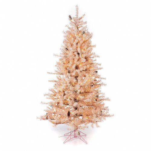 Árbol de Navidad 200 cm rosa escarchado piñas 300 luces | venta online en HOLYART