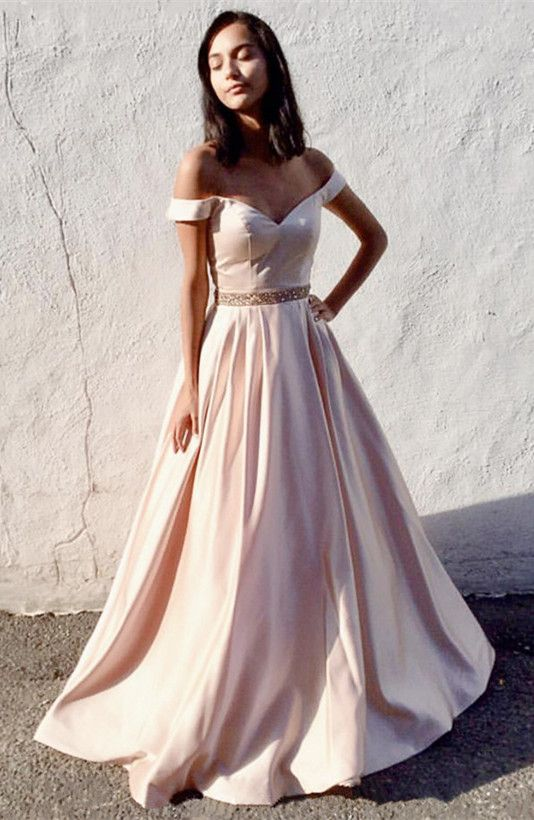 d8639a5988e Simple A-line Off the shoulder Champagne Long Prom Dress with Pocket