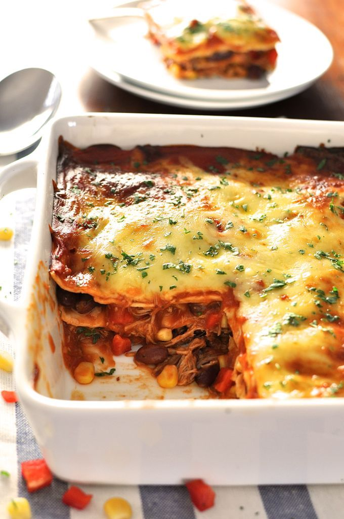 10 minutes to assemble, its an enchilada - layered up like lasagna! Great for freezing, either before or after baking. #enchilada #mexican #lasagna