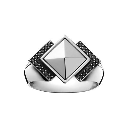 NOCTURNE ring - sterling silver with black diamonds