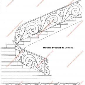 Rampes D 39 Escalier En Fer Forg Style Classique Mod Le Bouquets De Volutes Ramp Pinterest
