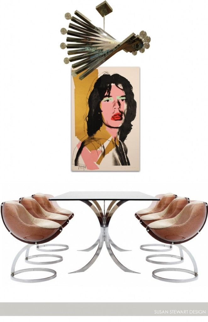 Boris Tabacoff – Table & Chairs, France 1970s, Mick Jagger by Andy Warhol, Signed Original 1975, Gaetano Sciolari Sculptural Chandelier