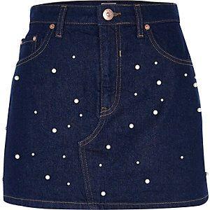 Embellished Pearl Denim Skirt from River Island R700,00