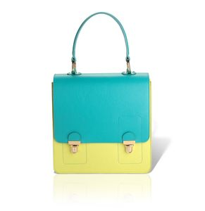 SATCHEL | ipad mini | Aquatic-Anise green.  Genuine leather handbag with metal look details and beige cotton lining.