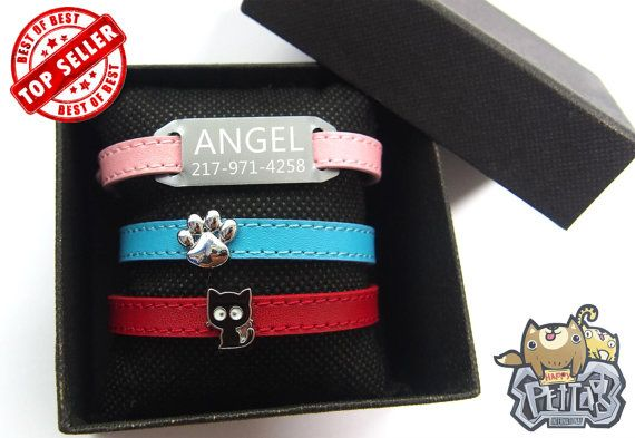Personalized Cat Collars Leather Cat Collar with by happypettag