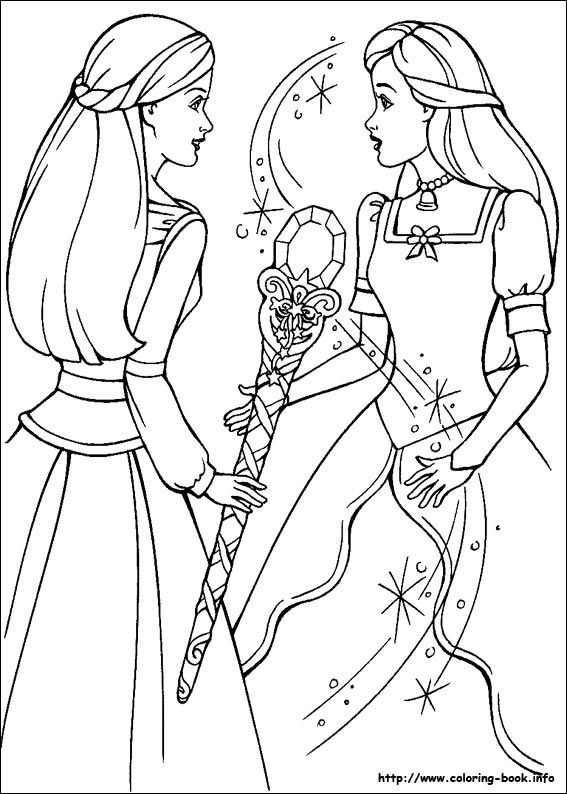 Annika Uses The Wand Of Light To Break Spell On Brietta Coloring Page From Barbie And Magic Pegasus
