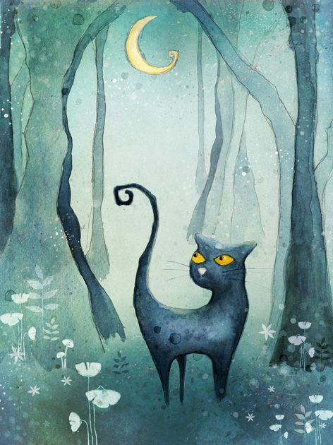 Cat in the forest Art Print by Agnieszka Szuba