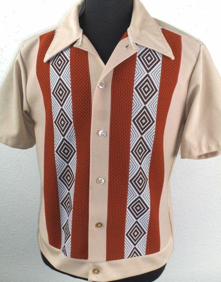 VINTAGE 1950's-60'S Atomic Striped ARGYLE Rockabilly VLV Shirt LARGE