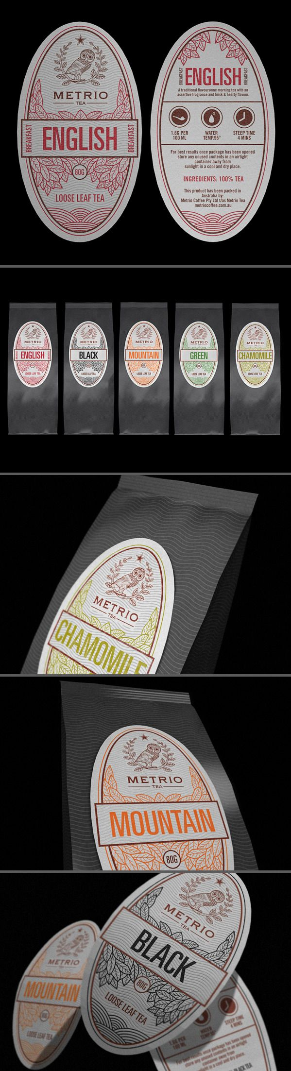 Metrio Tea by Robinsson Cravents, via Behance Nice #tea #packaging PD