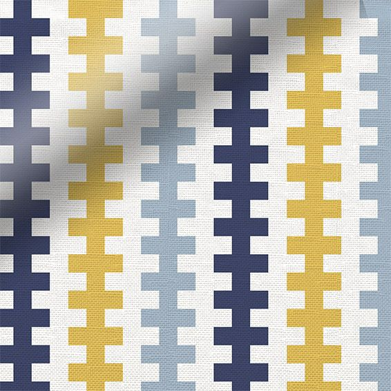 Mustard yellow, sky and midnight blue alternate to create a spectacularly modern pattern with a superbly gorgeous colour palette upon the Hounds Tooth Beach Blue roman blind. br  br Each row of hou...