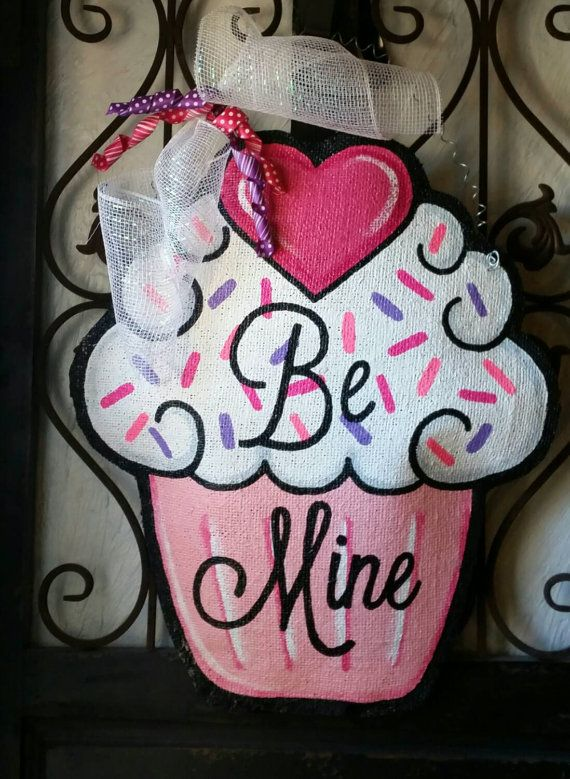 Valentine's Day Cupcake Burlap Door Hanger by ConnieRisleyCrafts