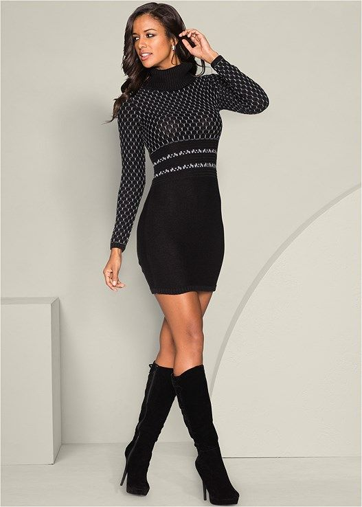 1606c34262 Venus Women s Turtleneck Sweater Dress - Black neutral