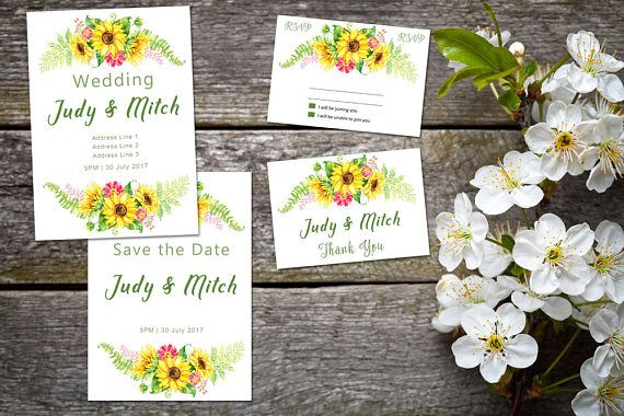 Wedding suite INSTANT DOWNLOAD | Editable Templates | Sunflower Wedding Invite, rsvp, save the date, invite | Sunflower Collection | PDF