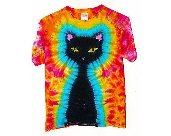 Tie Dye Shirt / Kids Black Cat Tie Dye Shirt/ by SunflowerTieDyes