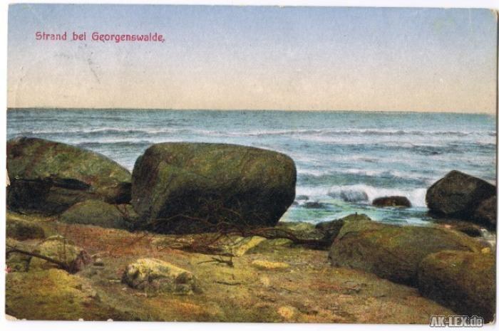 Rauschen Strand bei Georgenswalde.. Ostpreußen Ansichtskarte gel. ca 1914
