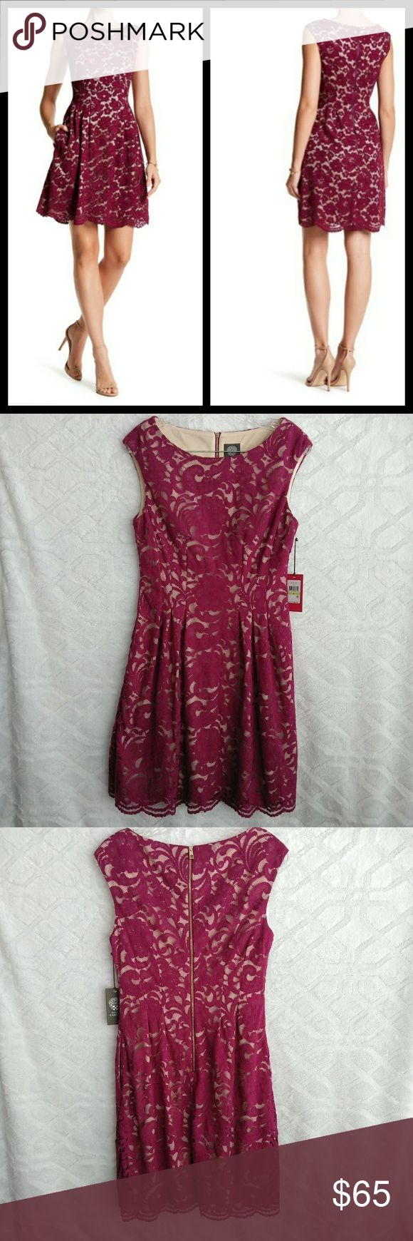 """Vince Camuto lace flare dress. New with tags lace flare dress with side pockets. Boat neck- back zip closure, cap sleeves. Lined.  Bust 17"""" Waist 15"""" Lenght 36""""  Approximately measurements with item laying flat. Vince Camuto Dresses Mini"""