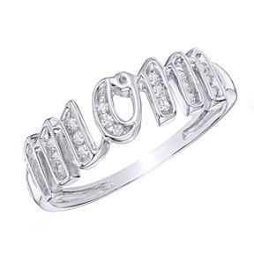 "1/8 Ct. T.W. Diamond ""Mom"" Ring In Sterling Silver Mother'S Day Gift by JewelryHub on Opensky"