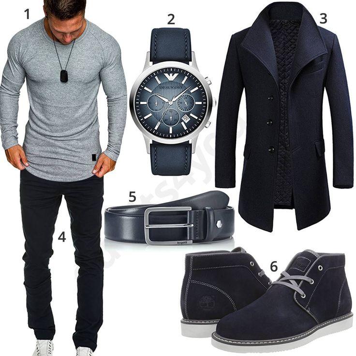 Dunkelblaues Herrenoutfit mit Mantel, Armbanduhr und Chino (m0881) #MensFashionChinos