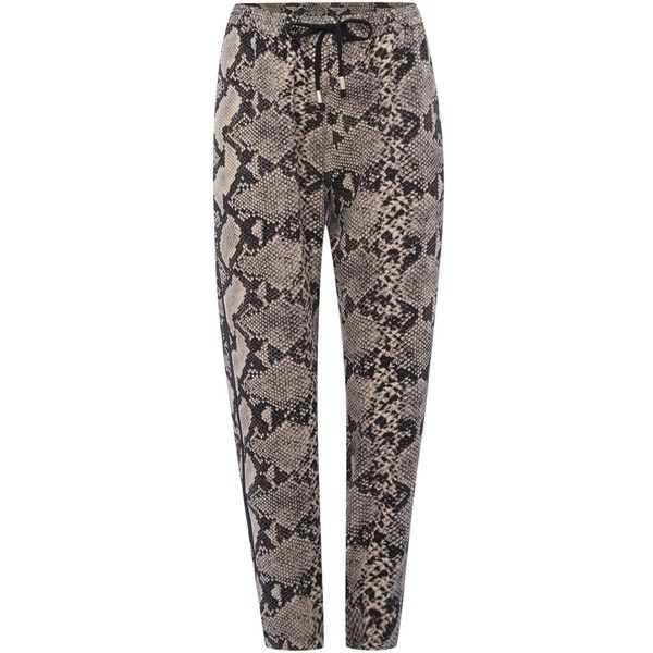 InWear Jennis Snake print trouser (€125) ❤ liked on Polyvore featuring pants, women, black trousers, black pants, snake skin pants, drawstring pants and snake print pants