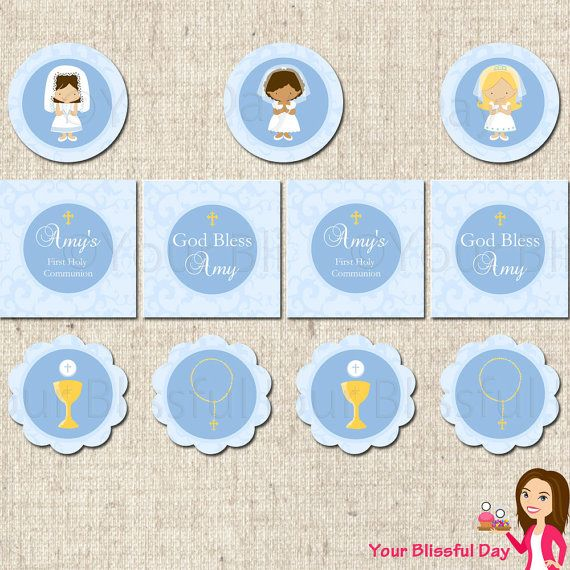 PRINTABLE Personalized First Communion Girl Party Circles (Character of your choice)