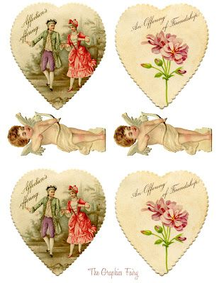 Vintage Valentine Printable - Heart Garland with Cupids - The Graphics Fairy