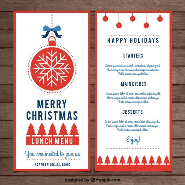 57 best X-MAS images on Pinterest Christmas cards, Free vector - free xmas menu templates