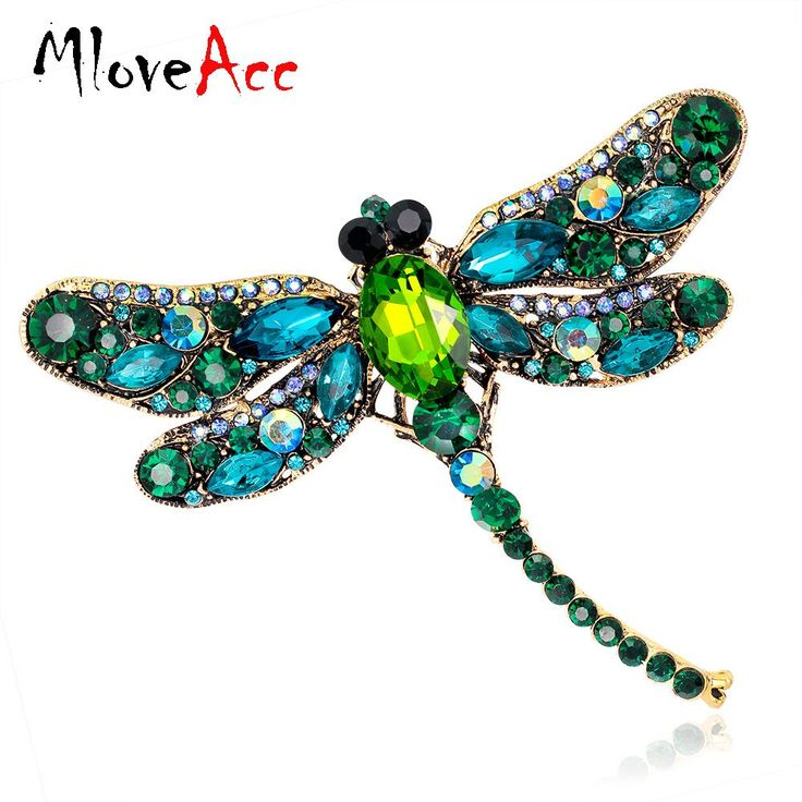 Vintage Design Shinny 6 Colors Crystal Rhinestone Dragonfly Brooches for Women Dress Scarf Brooch Pins Jewelry Accessories Gift //Price: $12.16 & FREE Shipping //     #hashtag2