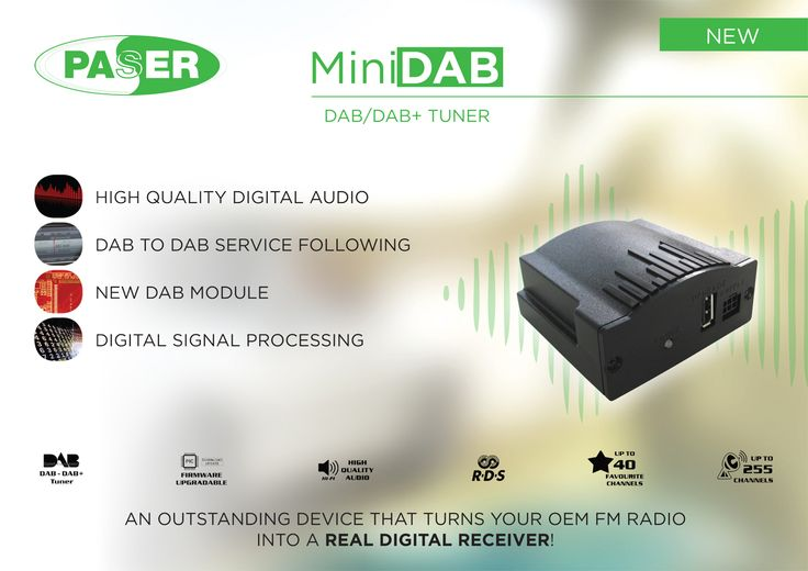 MINIDAB is an advanced tuner that transforms the car radio in a performing DAB/DAB+ receiver with CD AUDIO quality! It is an universal module compatible with all cars. The device functions are completely managed through a small dedicated remote control. Name of the radio channel, title of the track in broadcast, news are shown on the radio display. The device also allows receiving and managing up to 255 channels and up to 40 favourite channels. It is Plug&Play!