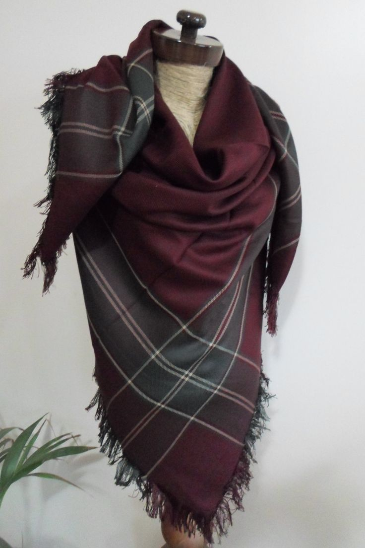 Burgundy Plaid Blanket scarf, Plaid scarf, Winter fashion, blanket scarves, oversized, For Men, For Her, blanket, - pinned by pin4etsy.com
