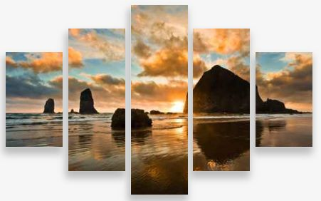 Canvas Wall Art 5 Panel Framed Multi Print- Rock Shadows