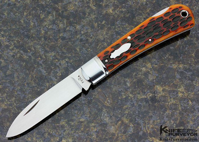 Enrique Pena Custom Knife Red Jigged Bone Lockback - Enrique Pena custom knife - image 1