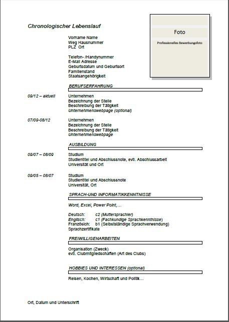 German Cv Template Lebenslauf Joblers Cv List Template