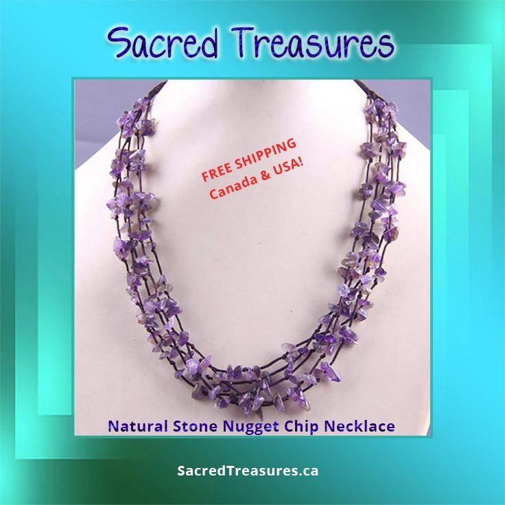 Classy #Amethyst Nugget Chip #Necklace.   #Gemstone #crystals #shopcanadian #jewelry #jewelery #freeshipping