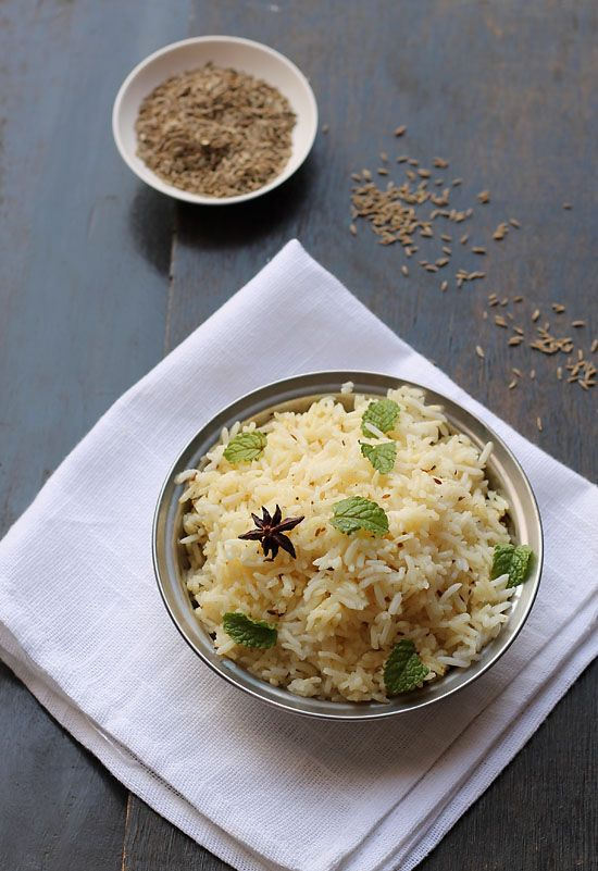 Jeera Rice is cumin flavored rice along some whole Indian spices and herbs.