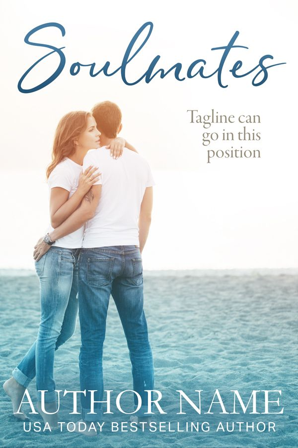 Soulmates - Premade Book Cover by Angela Haddon Book cover Design. A sweet, evocative cover for contemporary romance, featuring a couple on the beach and sophisticated, modern font. #bookcover #bookcovers #premadecover #premadebookcover #indieauthor #indiepub #indiepublishing #selfpub #amwriting #bookmarketing #bookdesign #bookcoverdesign #bookdesigner #bookcoverdesigner #graphicdesigner #sexy #romance #romancecover #contemporaryromance #soulmates #beach #beachcouple #jeans