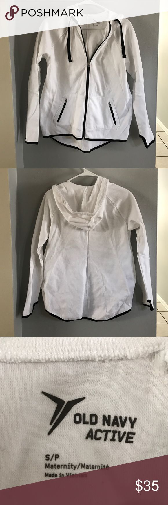 Old Navy Maternity Zip Up Brand new - never worn - white with black trim maternity zip up - smoke free, dog friendly home Old Navy Tops Sweatshirts & Hoodies