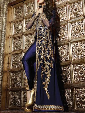 Buy Durga Emporio blue georgette  Online, , LimeRoad