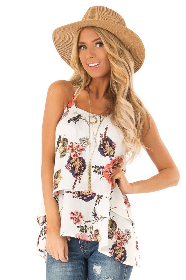 ebb376904be407 Ivory Floral Layered Halter Tank Top in 2019 | My dream closet ...
