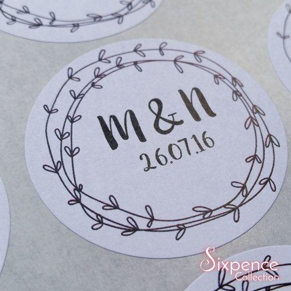 Laurel Wedding Favour Envelope Sticker Labels x 48