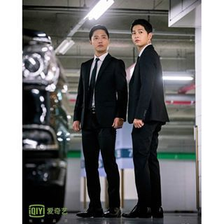 Instagram photo by songjoongkidaily - You two looking so great in black suit, you know that?  [Pic: iQIYI] <Song Joong Ki doesn't have any social media. Be careful of fake accounts.>