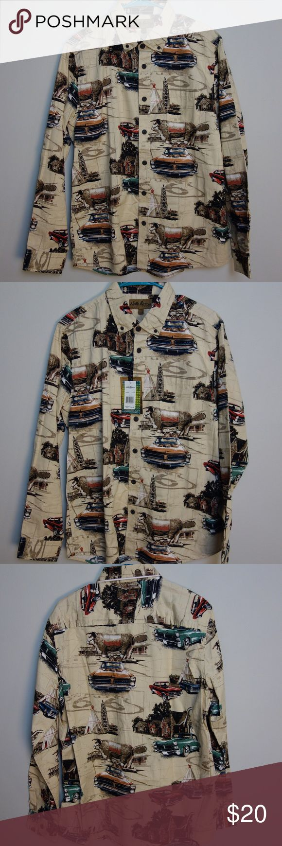 NWT Classic Car Men's Shirt NWT. North River and GM collab to make this great Route 66 theme shirt pattern featuring the iconic GOT model cars. Western images blend with Route 66 and GTOs in this fun pattern. Button down North River Shirts Casual Button Down Shirts