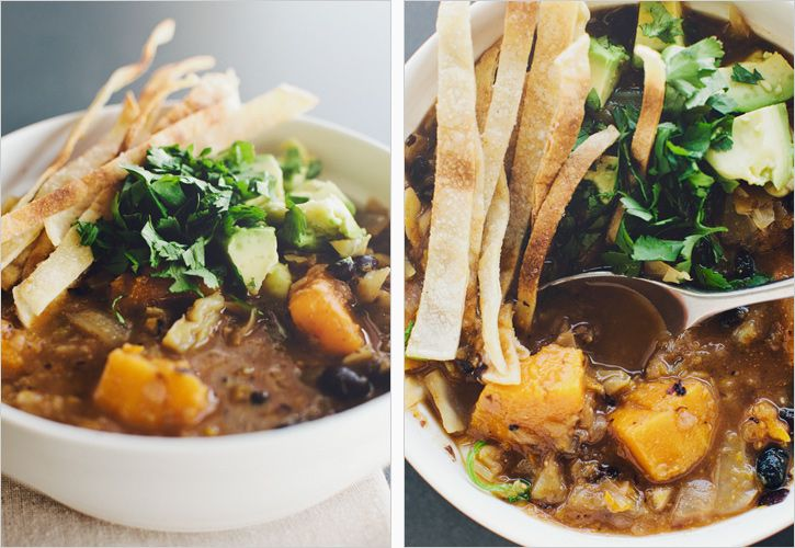 black bean + butternut squash soup with cilantro and avocado topping #recipe