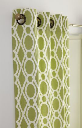 Grommet style drapery panel curtain in soft lime green and cream colors.  This window treatment is 100% cotton, lined and accepts up to 1.5ÌÎå«ÌÎ_ÌÎÌ_ÌÎåÌÎå«Ì´å diameter rods.