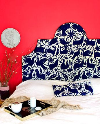 Inspiration of the Week: Mexican Otomi Coverlet used to upholster a headboard. SpruceAustin.com