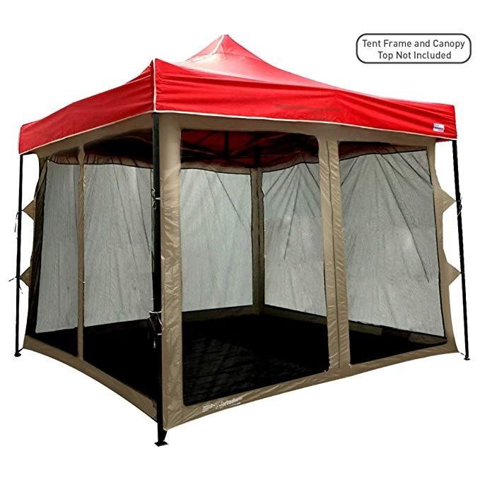 Easygoproducts Screen Room Attaches To Any 10 X10 Pop Up Screen Tent Room A 4 Walls Mesh Ceiling Pvc Floor Two Doors Screen Tent Pop Up Screens Tent Room