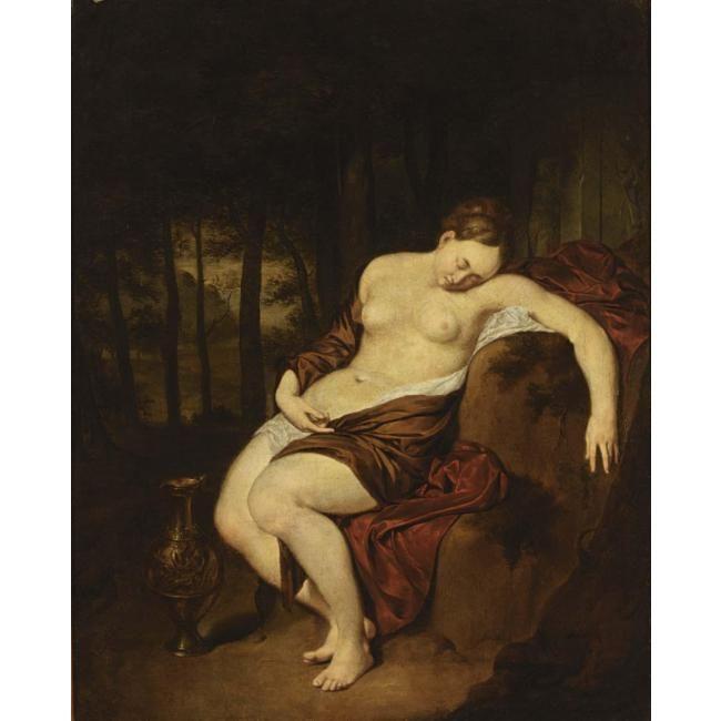 Ян Мирис, Jan van Mieris (1660 — 1690) — Обнаженная, спящая в лесу (1679, Частная коллекция)