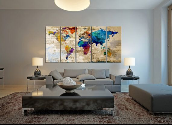 World Map Canvas Art Print, Large Wall Art World Map Art, Extra Large Watercolor World Map Print for Home and Office Wall Decoration