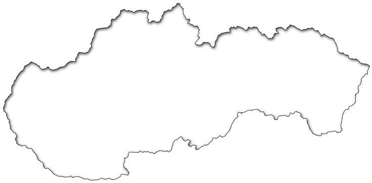 Slepá mapa Slovenska.