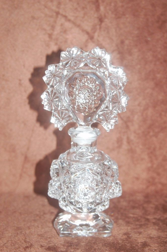 Antique Vintage Clear Crystal Perfume Bottle with Large Ornate Glass Stopper! #Victorian